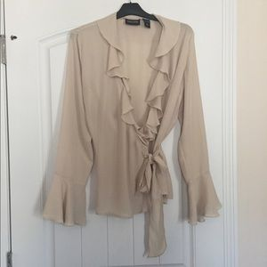 New York & Company Wrap Blouse With Ruffles